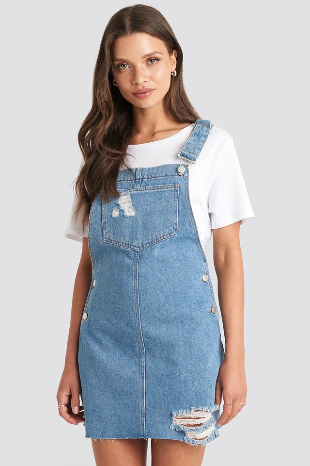 Raw Hem Mini Dungaree Julia Wieniawa x NA-KD