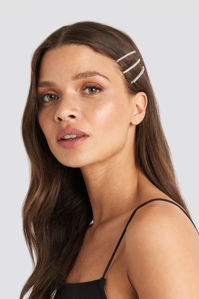 Rhinestone Hair Clips Silver