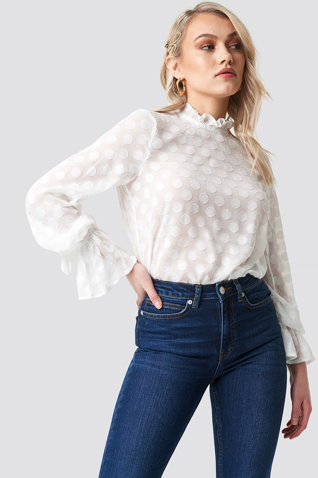 Dotted Chiffon Blouse White
