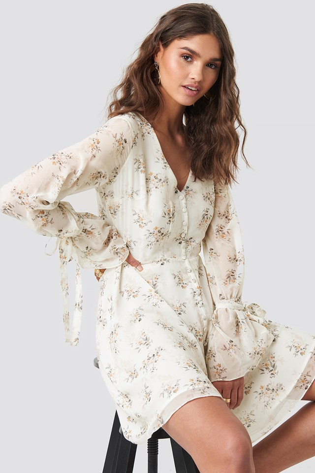 Button Down Mini Dress Multi Floral Print