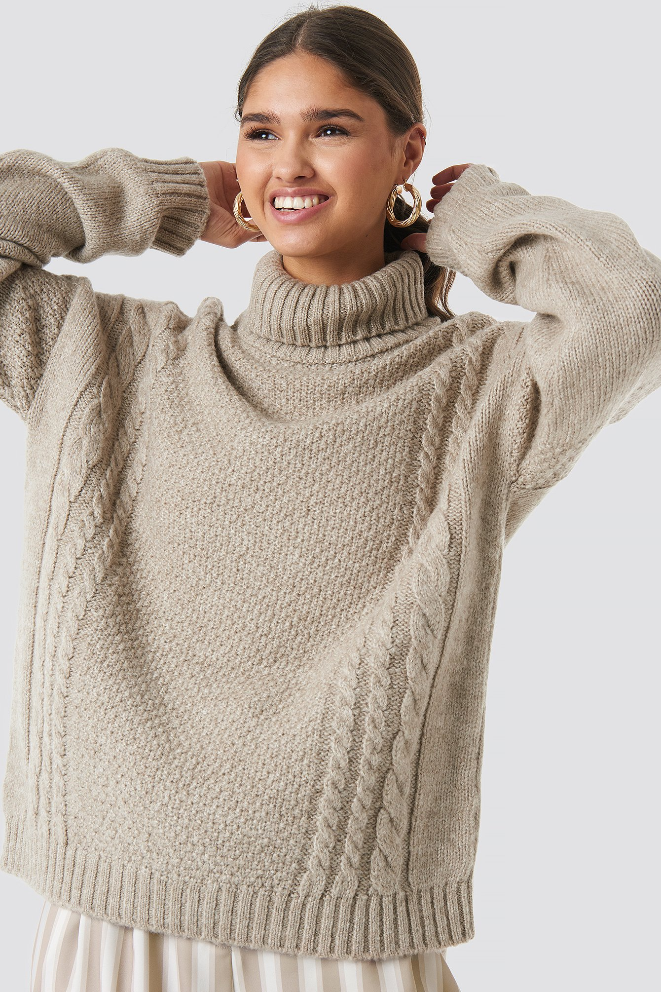 Cable Knit Turtleneck Sweater NA-KD.COM