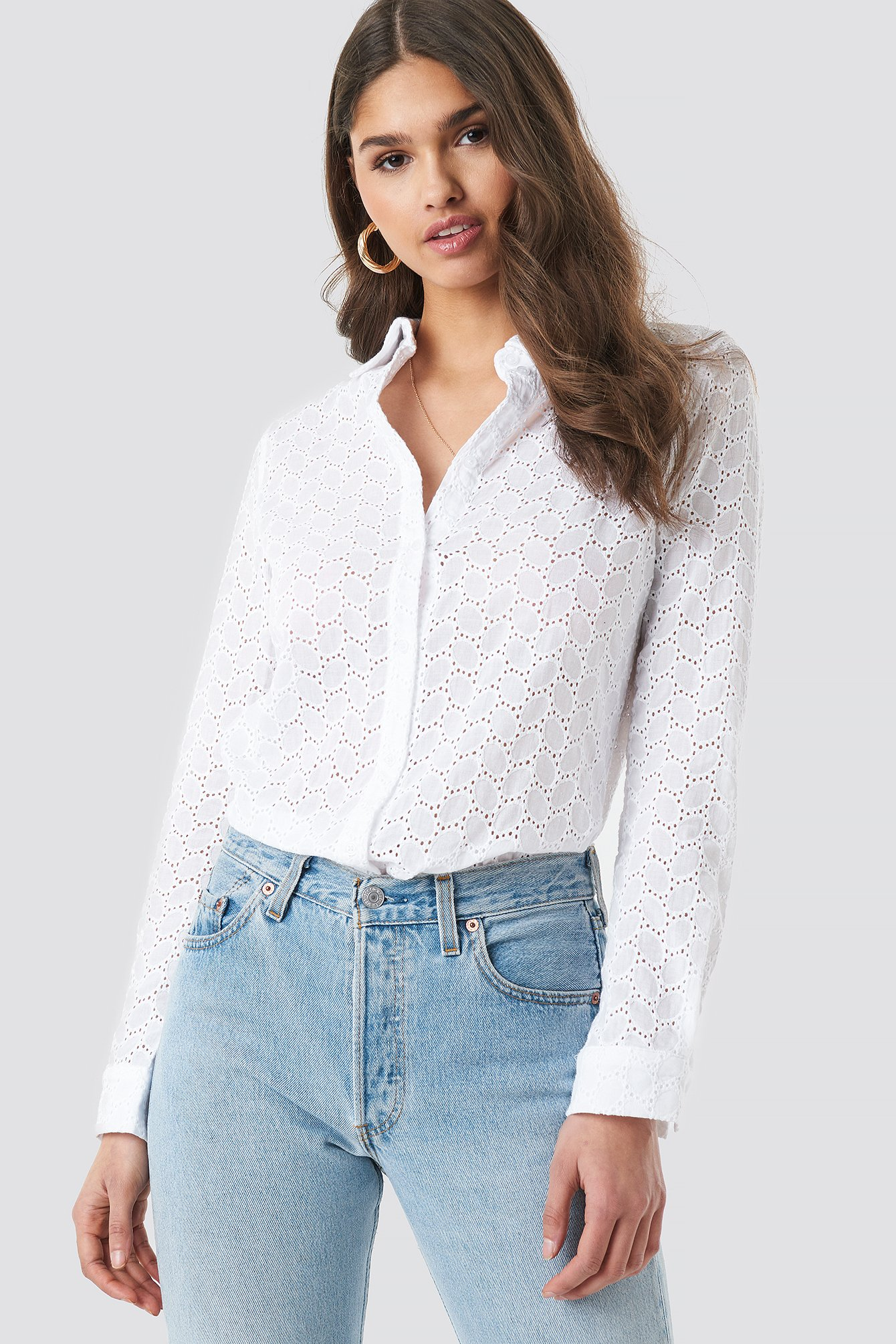 Lace Button Down Shirt NA-KD.COM