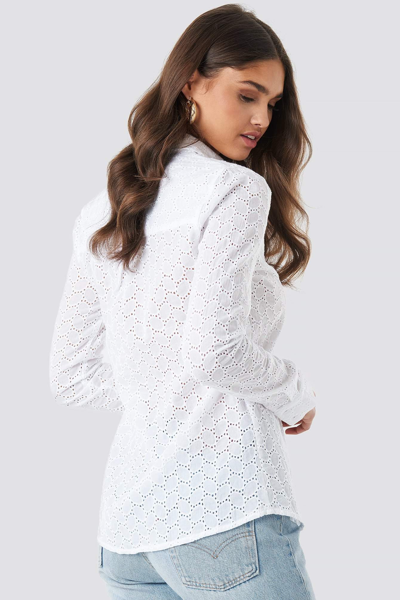 Lace Button Down Shirt NA-KD.COM