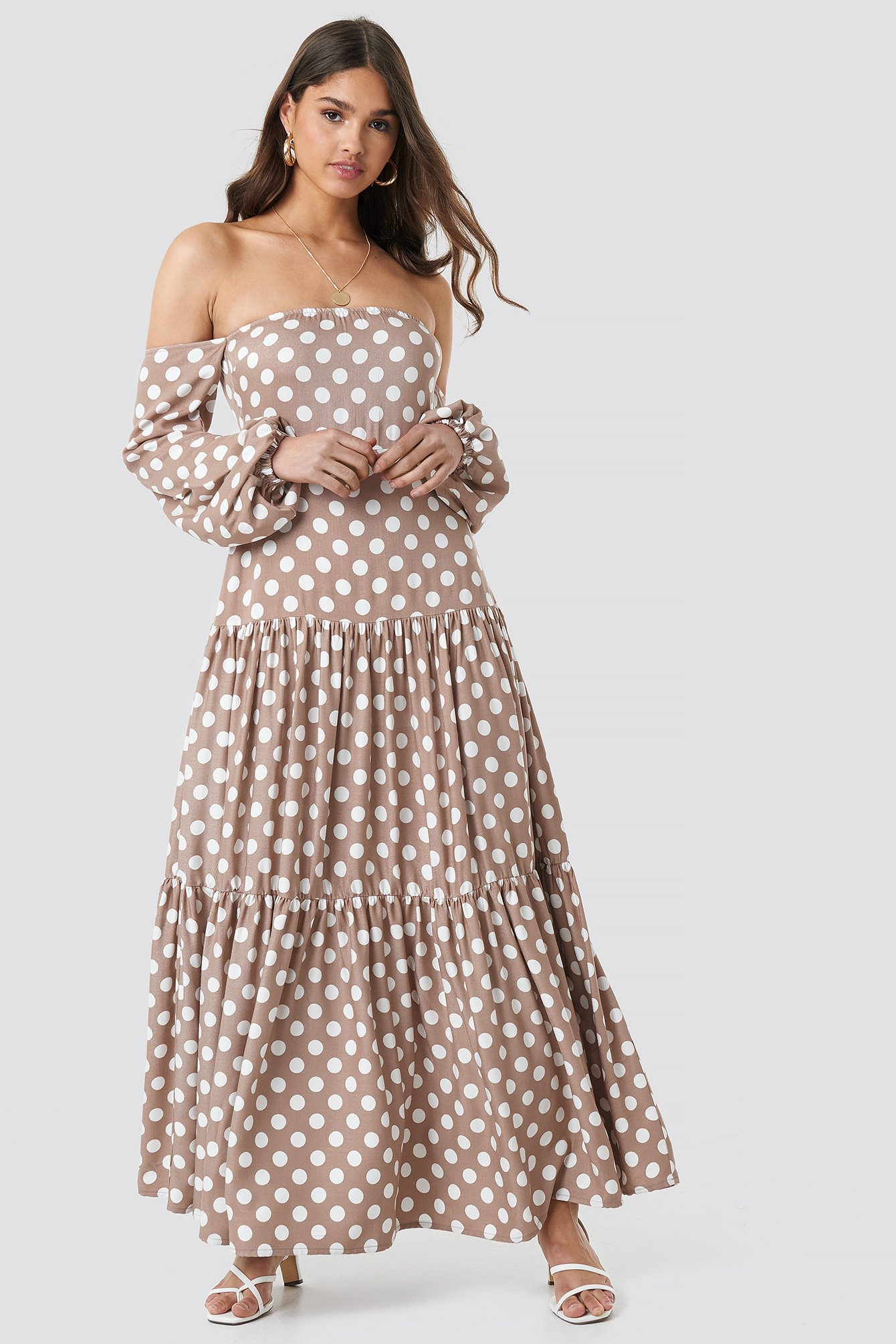 Beige/White Polka Dot Maxi Dress
