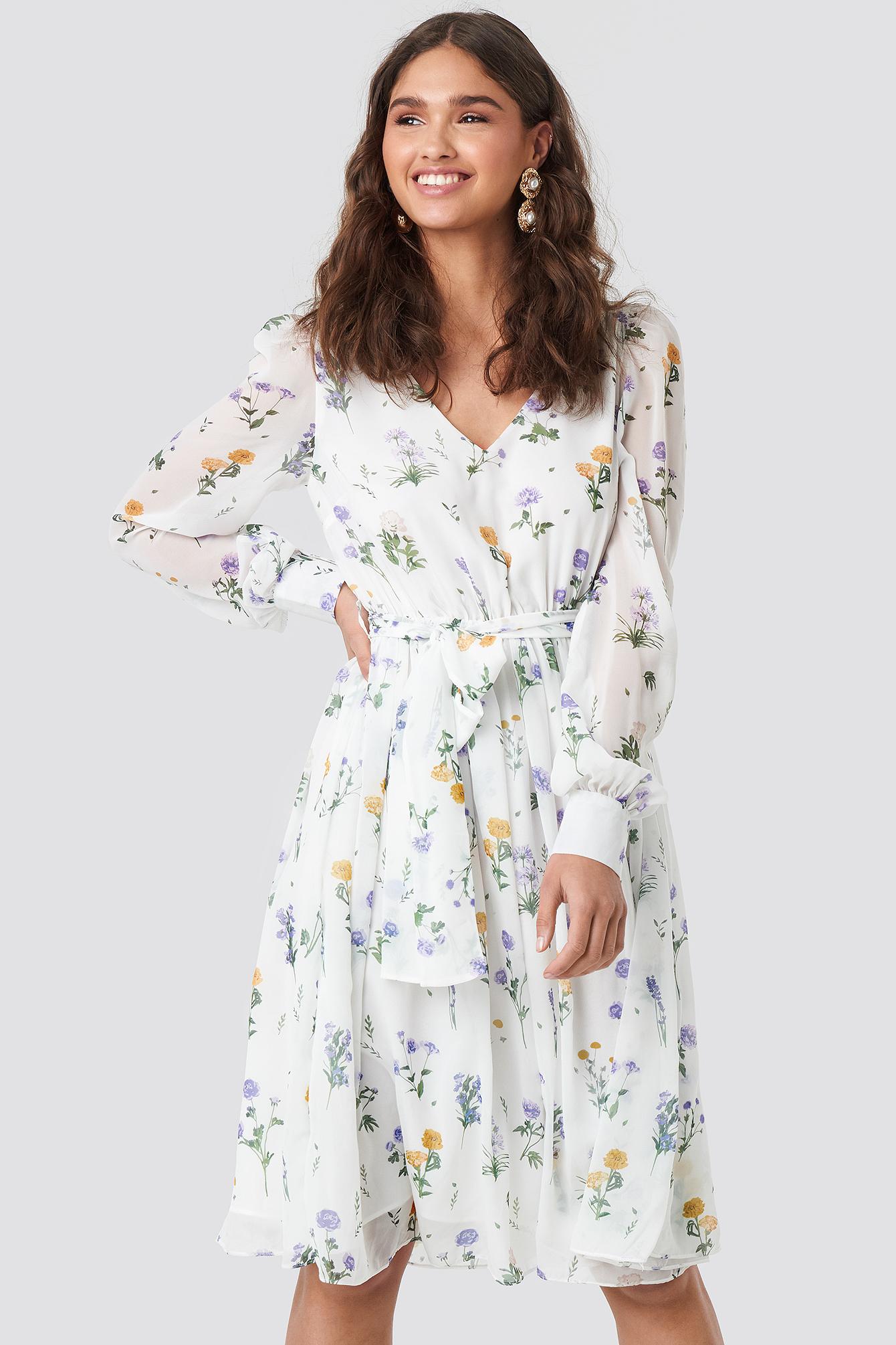 Puffy Shoulder Floral Midi Dress NA-KD.COM