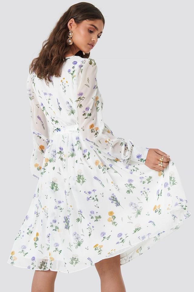 Puffy Shoulder Floral Midi Dress Multi White