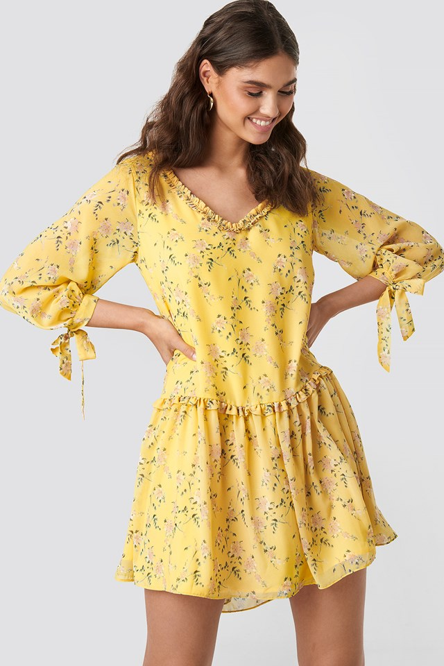 Ruffle V Neck Mini Dress Yellow Flower