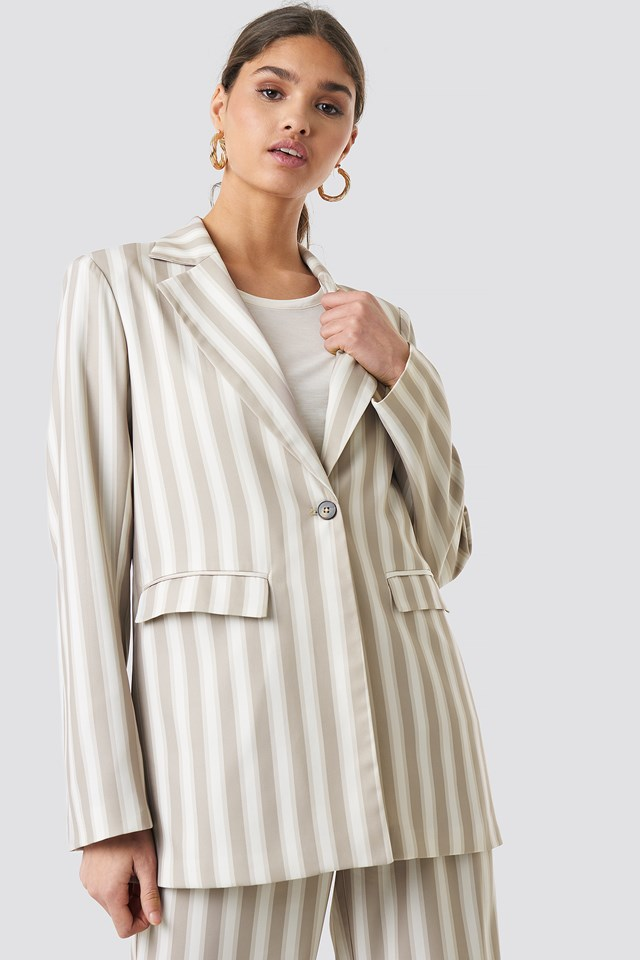Tailored Striped Jacket Beige