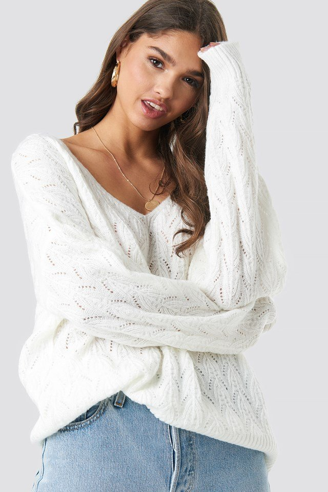 V-neck Pattern Knitted Sweater White