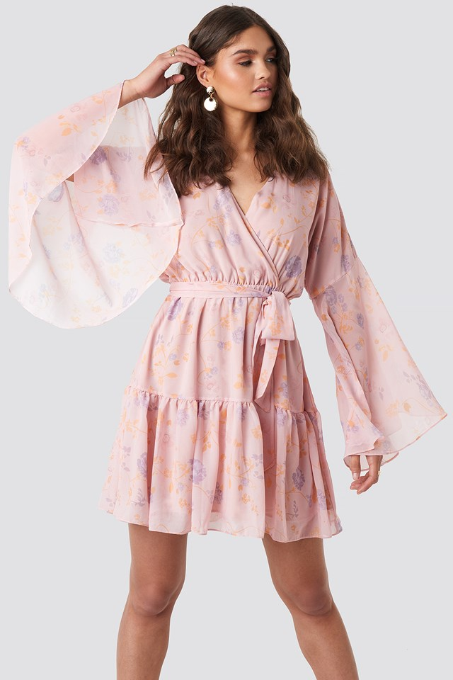 Wide Sleeve Mini Dress Light Pink