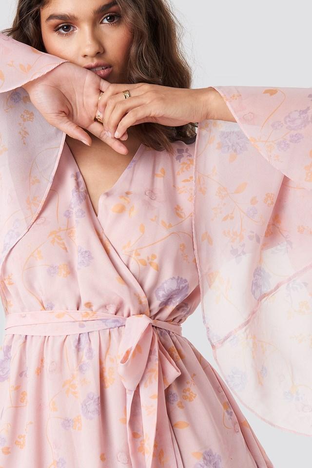 Wide Sleeve Mini Dress Light Pink