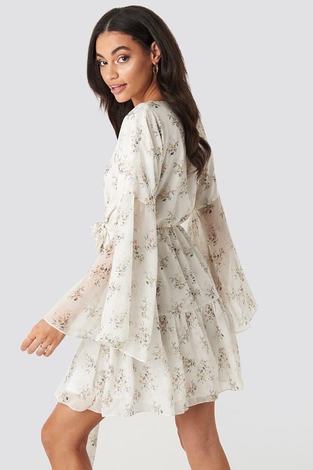 Wide Sleeve Mini Dress Multi Floral Print
