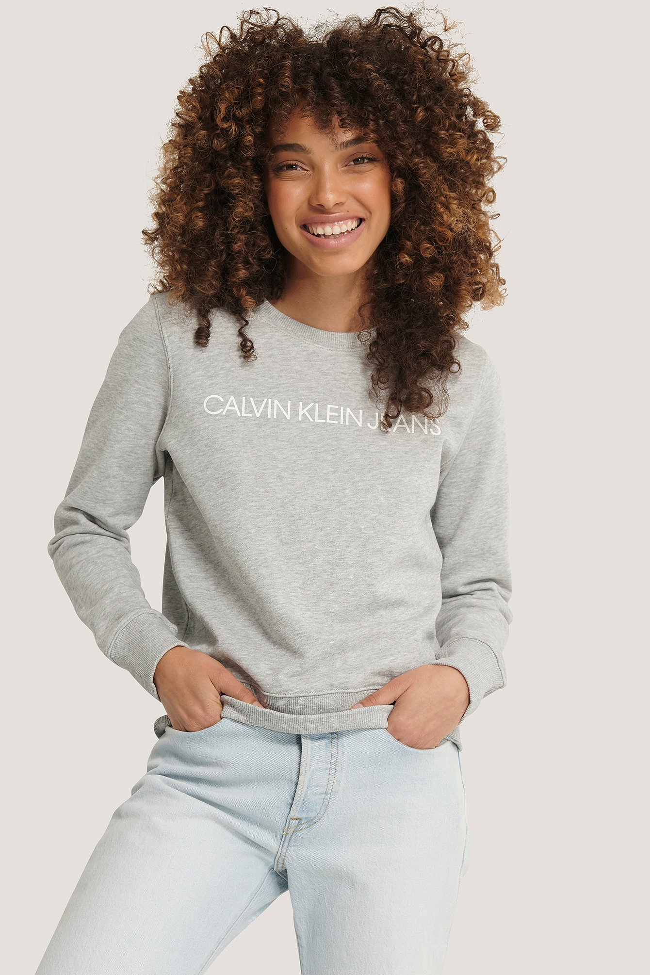 calvin klein -  Institutional Core Logo Sweater - Grey