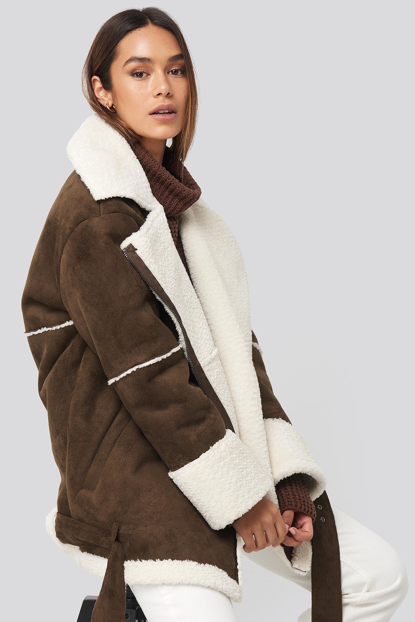 karo kauer x na-kd -  Belted Faux Fur Aviator Jacket - Brown