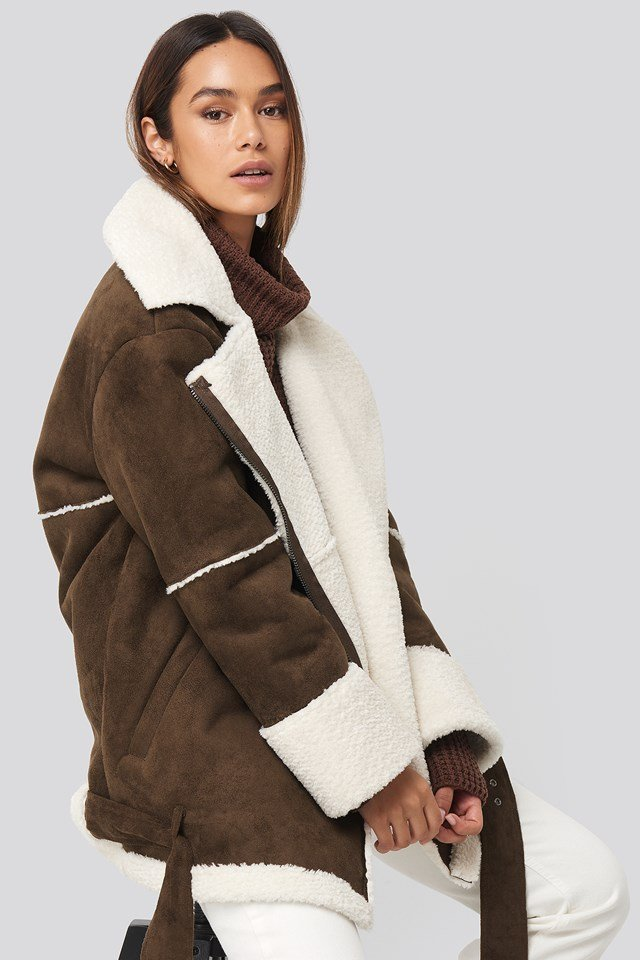 Belted Faux Fur Aviator Jacket Brown