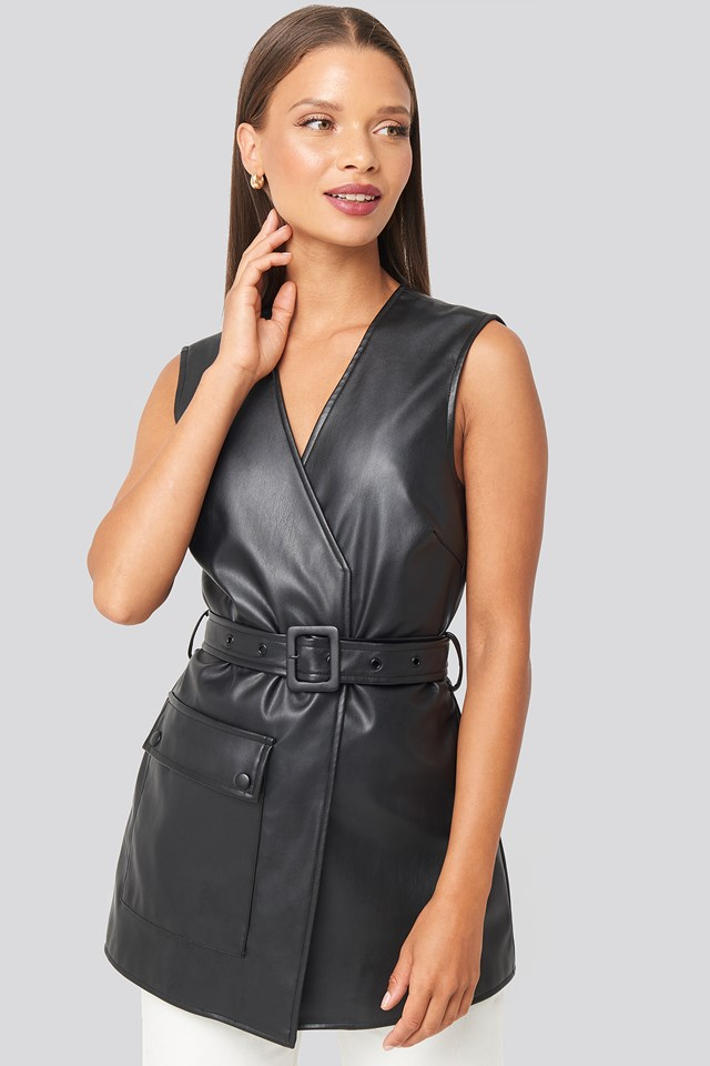 Belted PU Vest Black