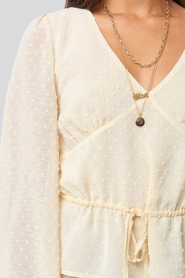 Flounce Dotted Blouse Off White