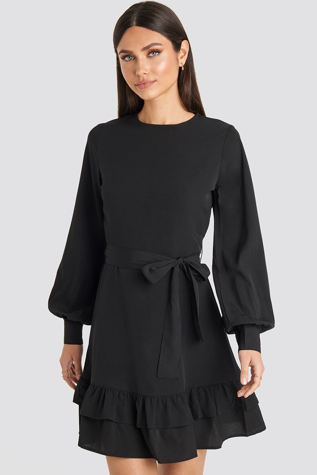 Balloon Sleeve Mini Dress Black