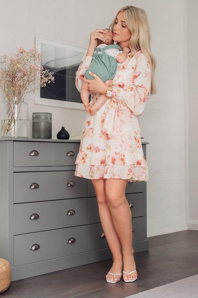 Balloon Sleeve Mini Dress Flower Print