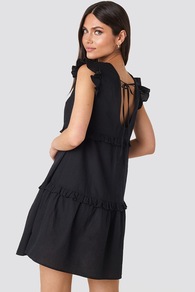 Deep Back Flounce Mini Dress Black