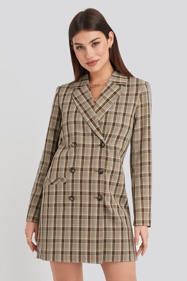 Double Breasted Blazer Dress Checkered