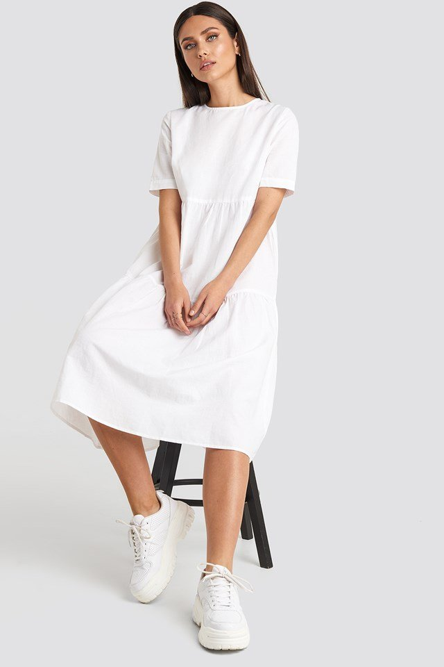 Flounce Midi Dress White