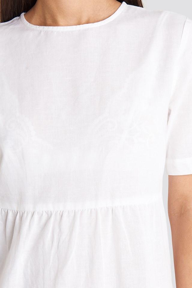 Flounce Midi Dress White