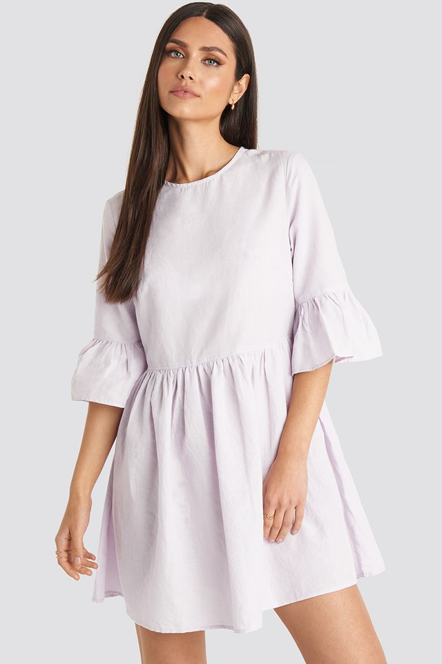 Flounce Mini Dress Lilac