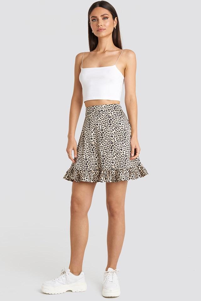 Flounce Mini Skirt Leopard