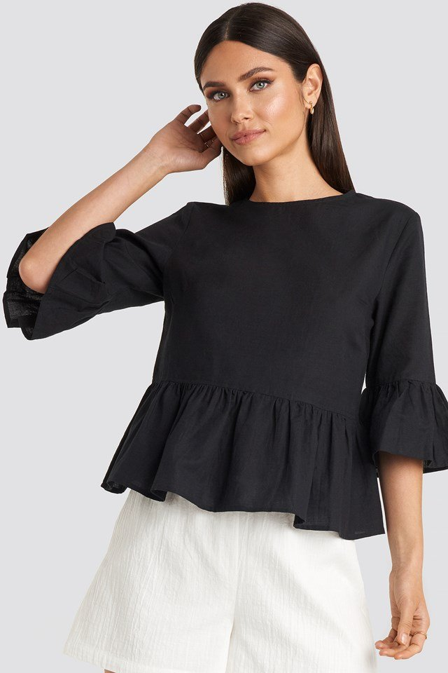 Flounce Top Black