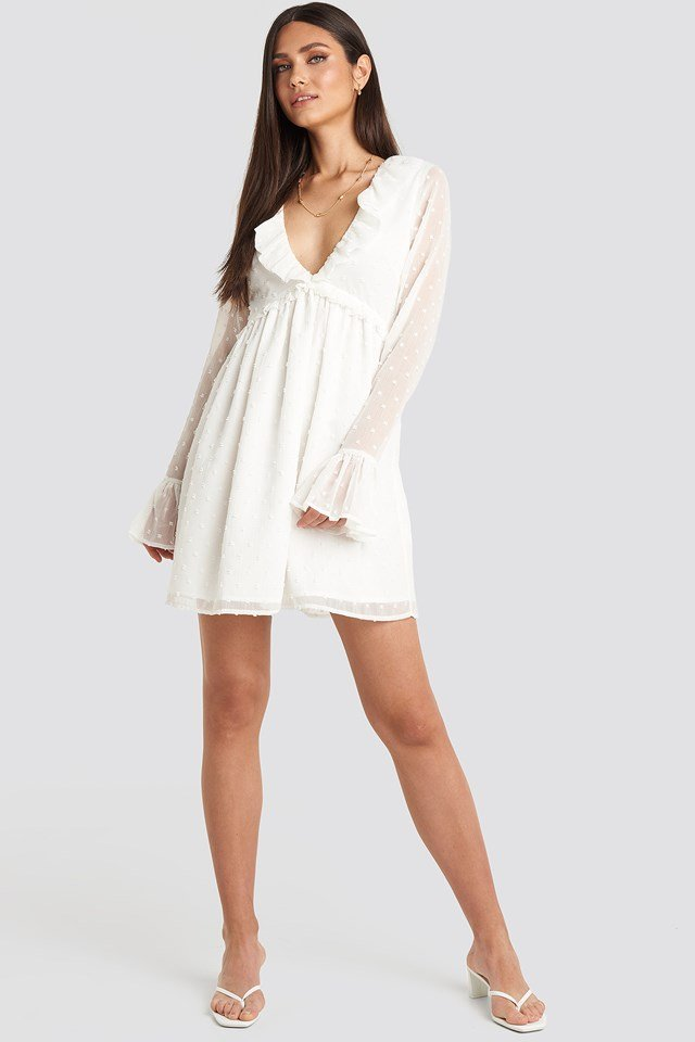 Frill Detail LS Dress White
