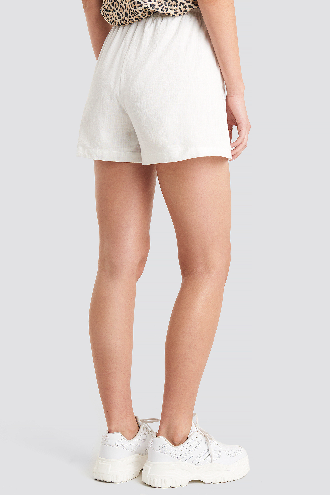 White Linen Look Shorts