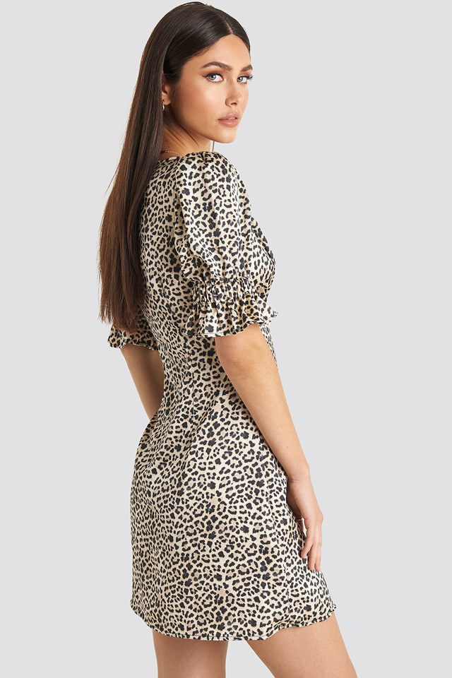 Puff Mini Dress Leopard