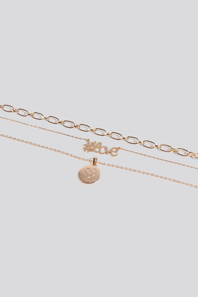 Triple Chain Necklace Gold