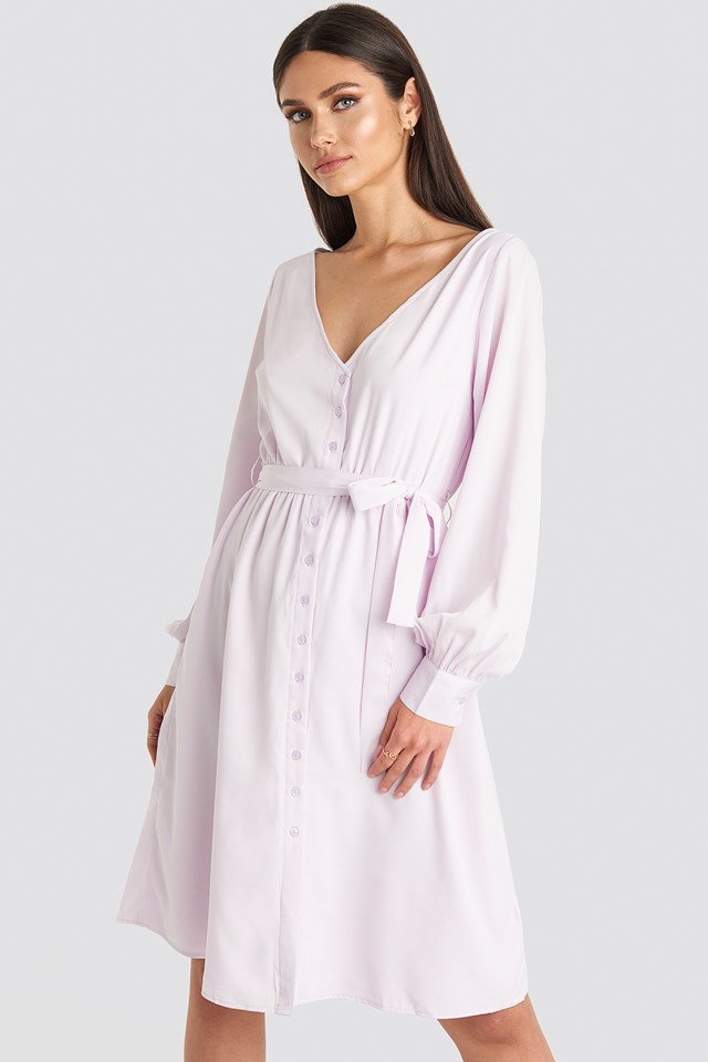 V-neck Balloon Sleeve Dress Lilac