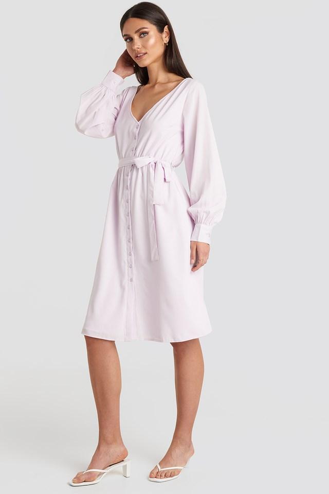 V-neck Balloon Sleeve Dress Lilac