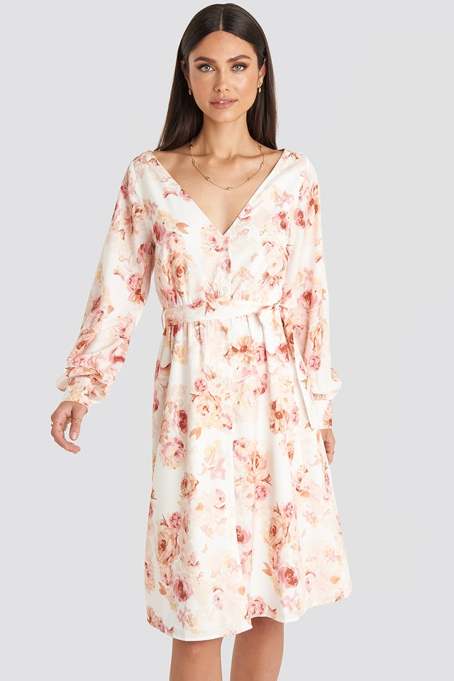 V-neck Balloon Sleeve Dress Flower Print