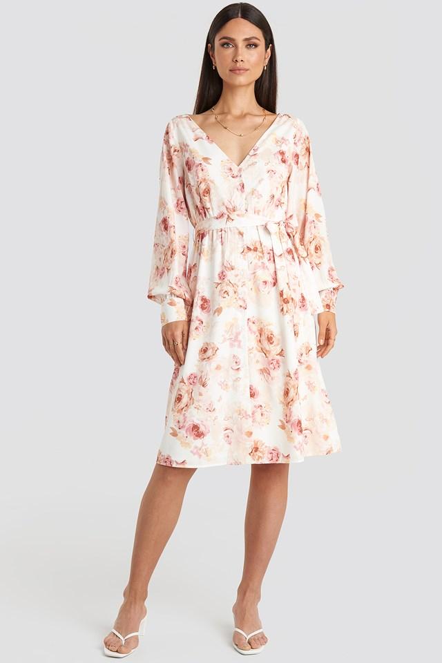 V-neck Balloon Sleeve Dress Flower Print
