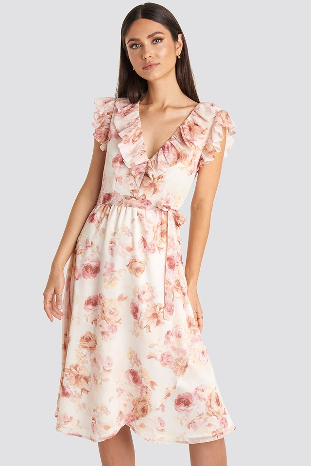 V-neck Flounce Midi Dress Flower Print