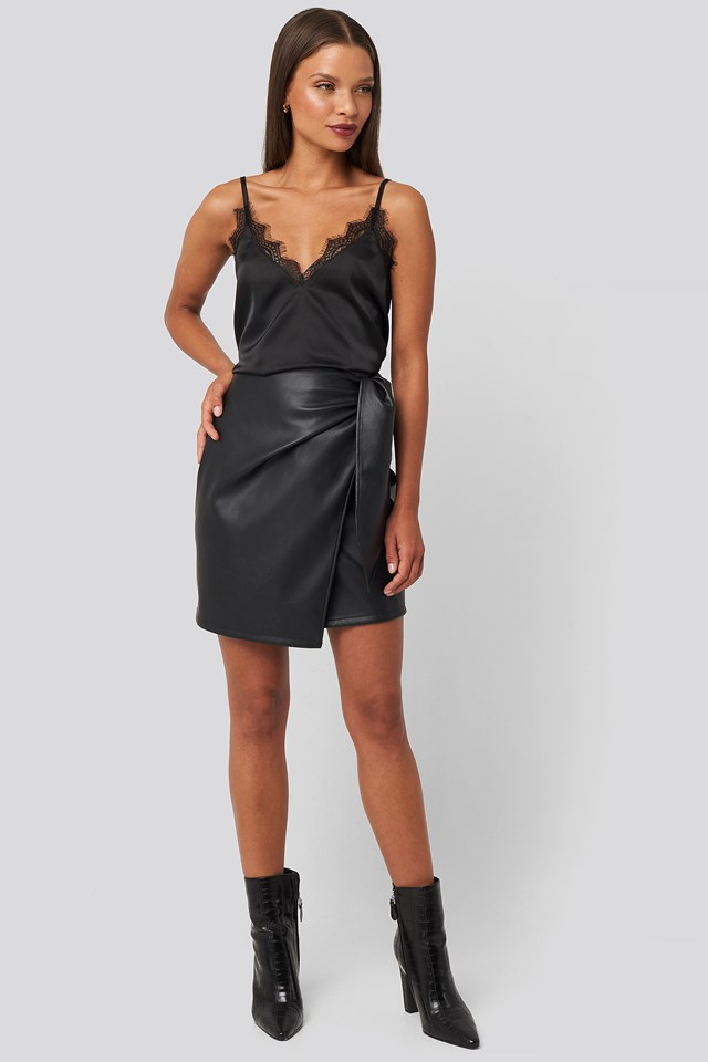 Tied Waist PU Skirt Black