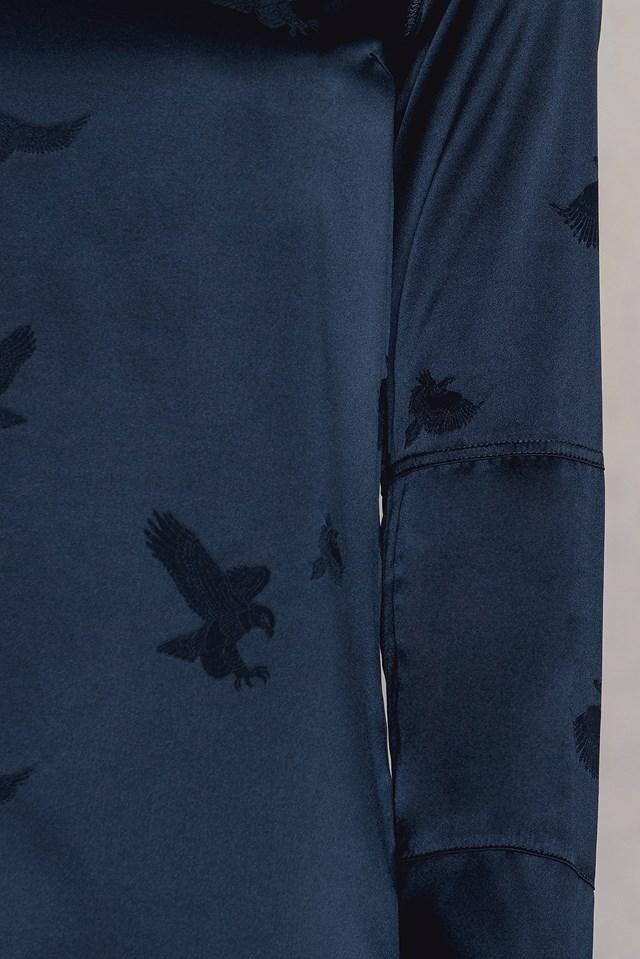 Kasumi Eagle Jacquard Blouse Midnight Blue