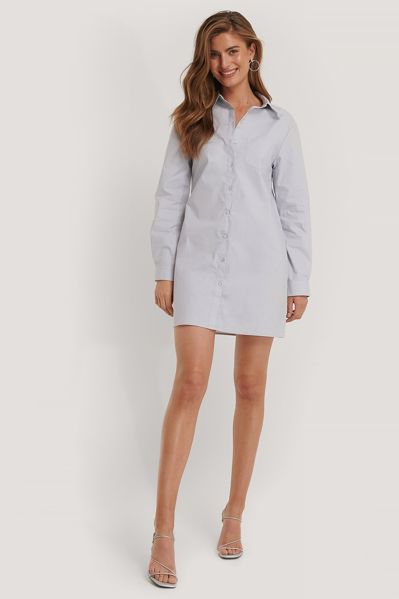 Kim Feenstra x NA-KD Chest Pocket Shirt Dress - Blue