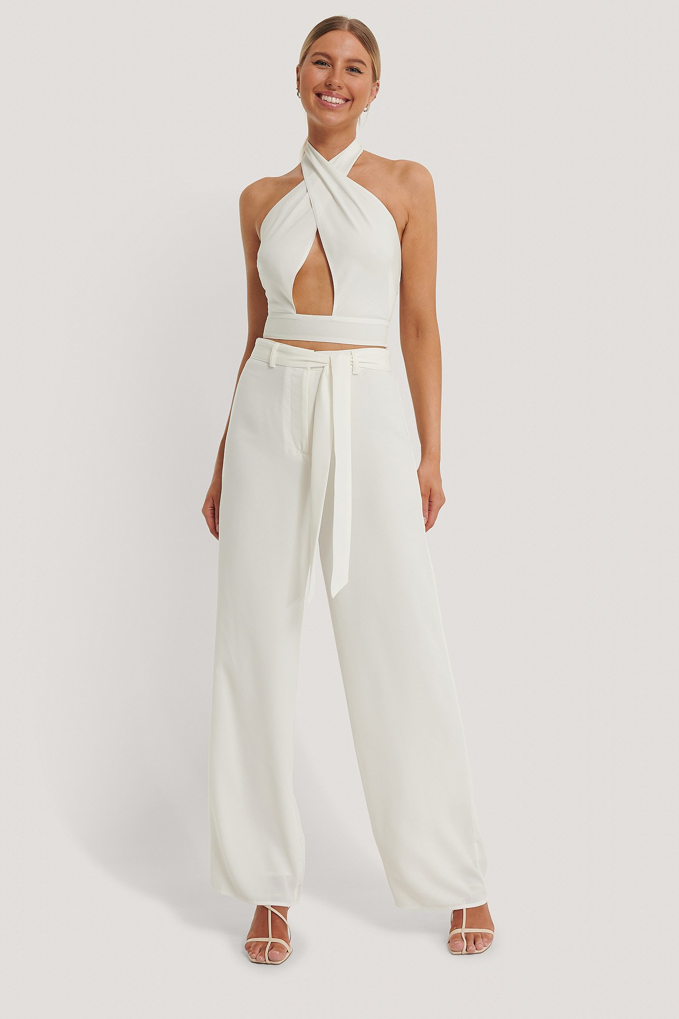 Offwhite Loose Fit Belt Trousers