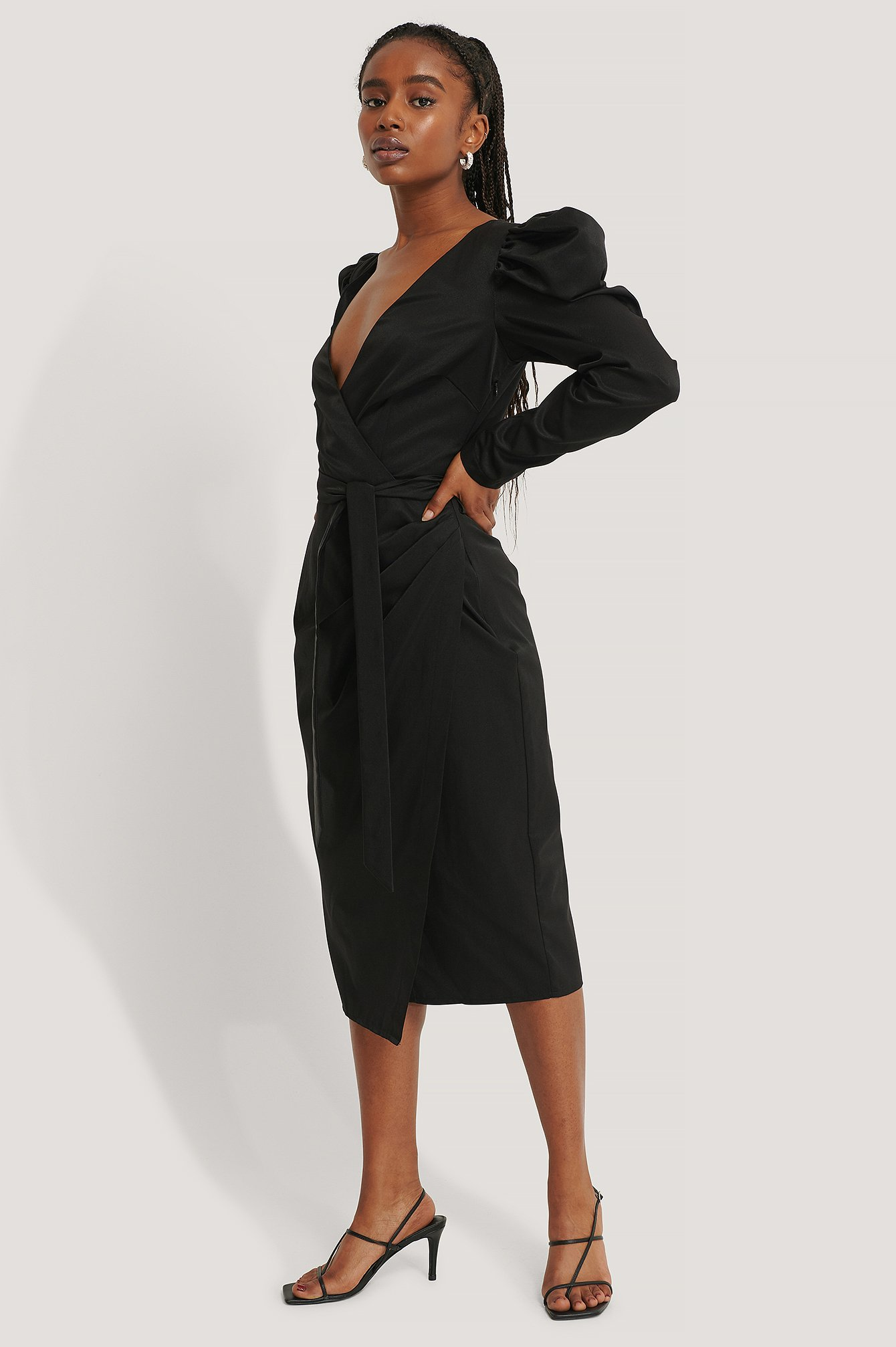 Black Puffy Sleeve Overlap Midi Dress