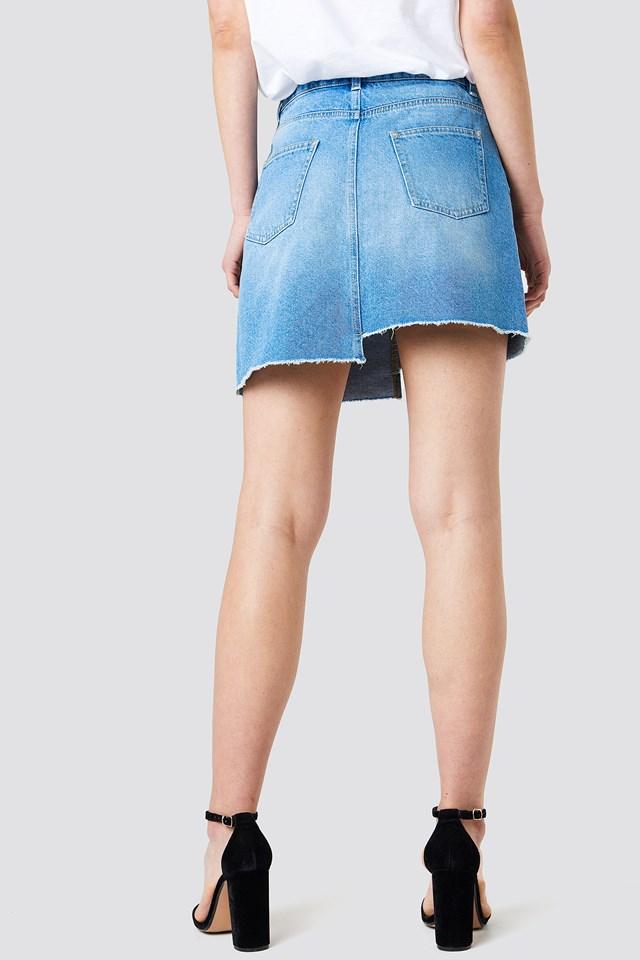 Asymmetric Denim Skirt Light Blue