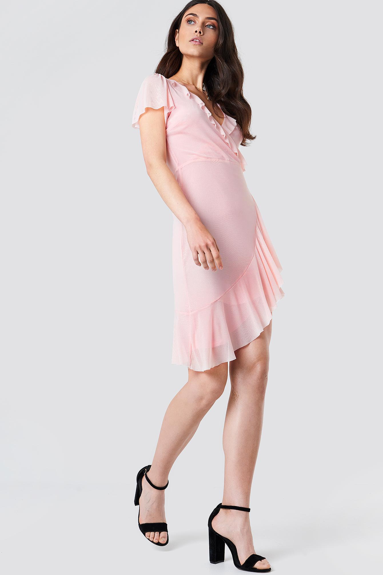Asymmetric Frill Mesh Dress NA-KD.COM