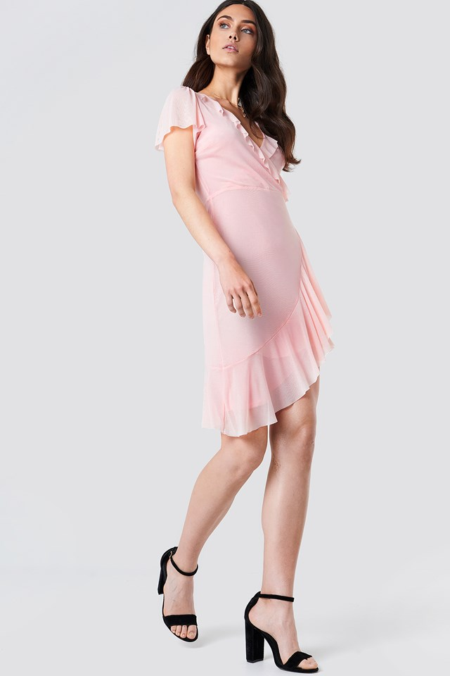 Asymmetric Frill Mesh Dress Light Pink