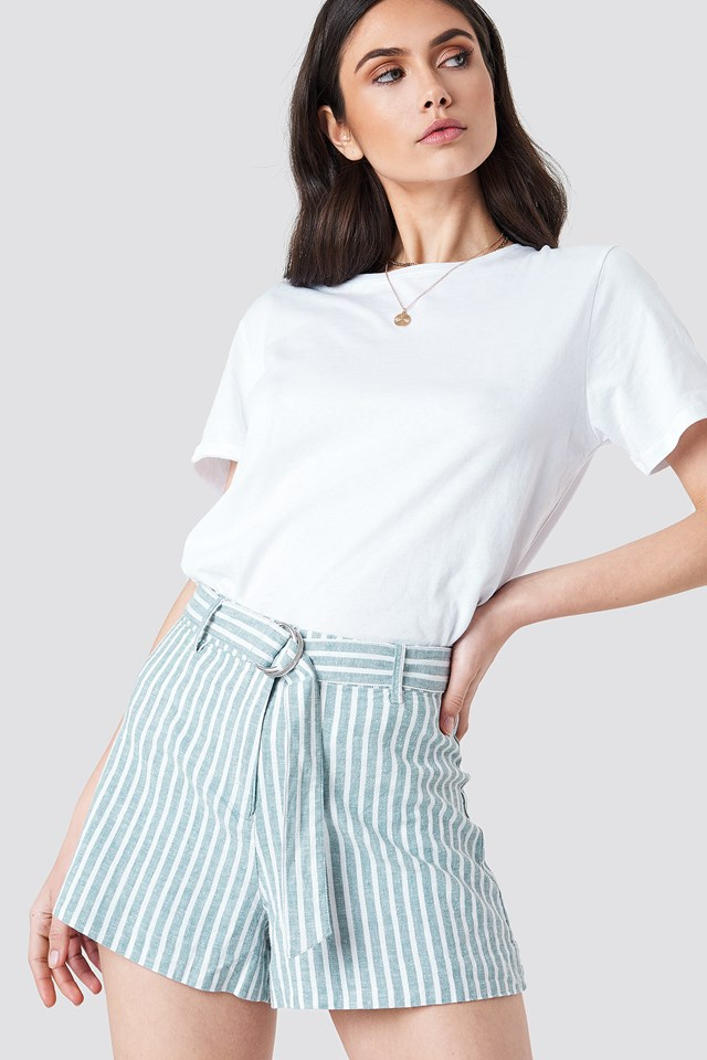 Linen Shorts Green Stripe