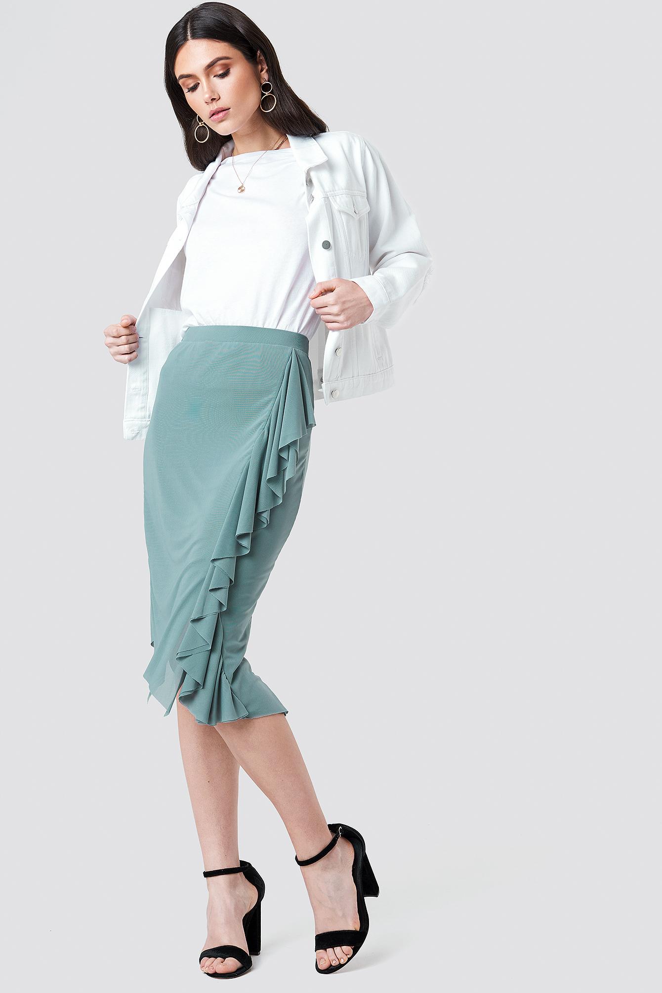 Front Frill Mesh Skirt NA-KD.COM