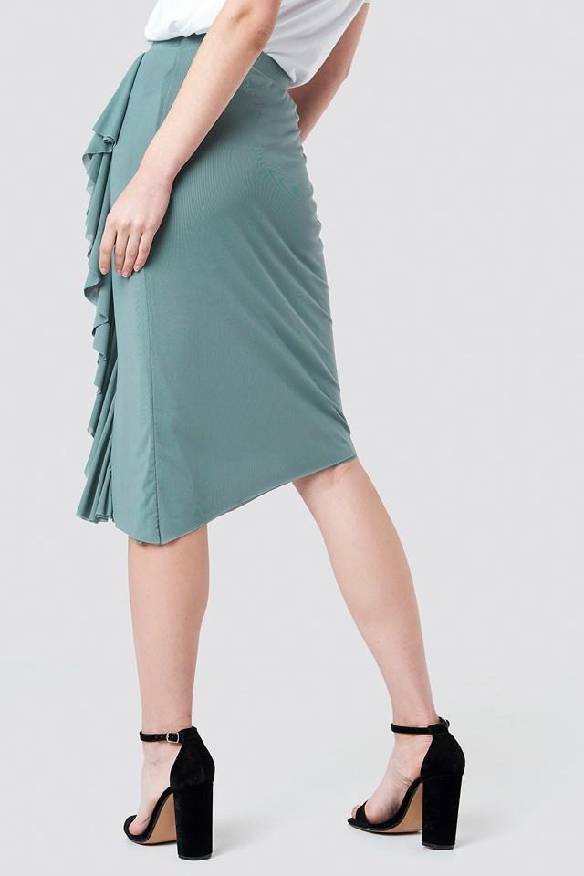 Front Frill Mesh Skirt Dusty Green